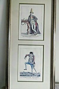 """VINTAGE POLITICO SATIRE PRINTS """"THE MACARONIS"""" BY MARY DARLY 1765"""