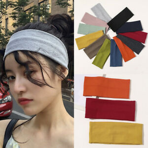 Soft Elastic Headband Wide Turban Knitted Cotton Sports Hairbands Sweat Bands
