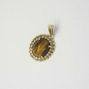 Tigers Eye Oval Pendant - 9ct Yellow Gold - 15x14mm