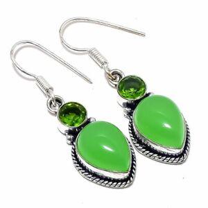 """Green Chalcedony, Peridot Gemstone 925 Sterling Silver Earring 1.6"""""""