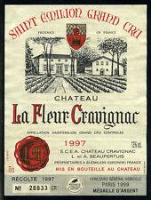 Etiquette Château LA FLEUR CRAVIGNAC. 1997. SAINT EMILION Grand CRU