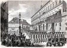 NAPOLI CAPITALE: PIEDIGROTTA 1859: SFILATA MILITARE BORBONICA.Stampa Antica.1859
