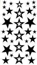 30+ Stars 2 Temporary Tattoos Fake Waterproof  Celebrity Style Black Body Art