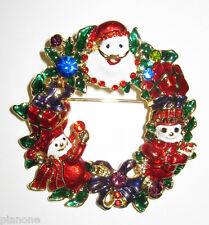 Pin Brooch with Crystals Christmas Wreath Santa & Snowman