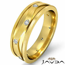 Eternity Wedding Band 18k Yellow Gold Round Bezel Diamond Mens Solid Ring 0.13Ct