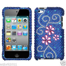 Apple iPod Touch 4 Snap-On Diamond Case Cover Accessory Juicy Flower