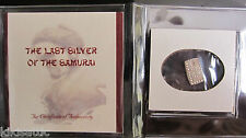 "SAMURAI SILVER BAR 1853- 1865 JAPAN ISSHU GIN COIN ""The Samurai's Last Paycheck"""