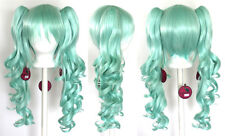 23'' Curly Pig Tails + Base Mint Green Cosplay Wig New