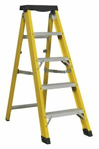 Sealey FSL5 Fibreglass Step Ladder Aluminium 4-Tread EN 131 Anti-Slip Feet