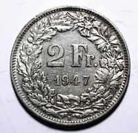 1947 Switzerland 2 Two Francs - 83.5% Silver - Lot 725