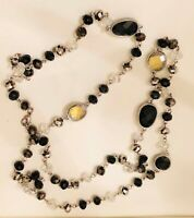 Vtg Black & Gold Facet Cut Glass Crystal Bead Silver ST Long Strand Necklace 34""