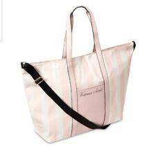 Victoria's Secret Stripe Weekender Tote Bag 2020 Pink White Black Strap