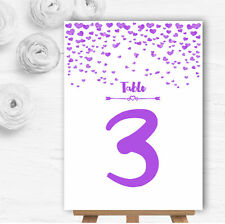Purple Heart Confetti Personalised Wedding Table Number Name Cards