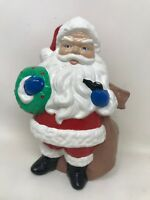 Vintage Painted Ceramic Santa Planter Wreath Pipe  8 In Mold