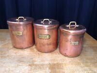 Vintage Copper Sugar Flour Coffee Tins