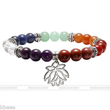7Chakra Natural Gemstone Beads Lotus Charm Healing Point Stone Bracelet Bangle