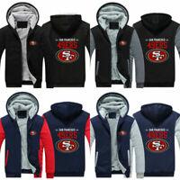 HOT San Francisco 49ers Football fan's Thicken Hoodie winter Hooded Coat Jacket