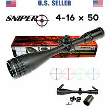 SNIPER 4-16X50 Rifle Scope w Rings Caps Sunshade RGB Mil-Dot, Free ship from US