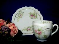 Antique O.& E.G. Royal Austria Demitasse Cup & Saucer - Hand-Painted Late 1800's