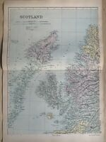 1891 Northwest Scotland Hand Coloured Original Antique Map by G.W. Bacon