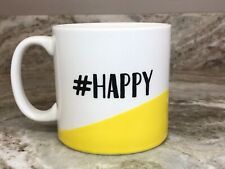 Large Coffee Mug #HAPPY With Smiley Inside 18 Ounce New.