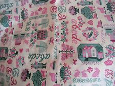 "coupons tissu   "" personnages, animaux , maisons ,lettres, fleurs ""   X  3"