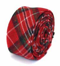 Frederick Thomas mens wool tweed Christmas tie in red tartan check FT1947