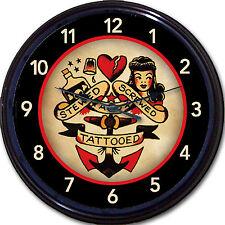 Tattoo Old School Sailor Wall Clock Stewed Screwed Tattooed Tat Parlor Man Cave