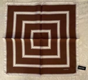 NEW TOM FORD TERRACOTTA-BROWN WHITE HAND ROLLED POCHETTE SILK POCKET SQUARE