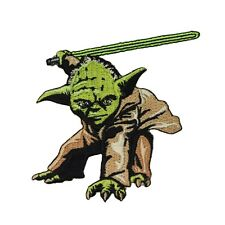 Yoda Jedi Master Patch Lightsaber Stance Star Wars Fan Apparel Iron-On Applique
