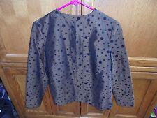 Laura Ashley Womens Petite Small Brown Blazer Black Dots Polyester Shirt NEW