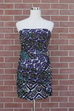 Womens Snap Strapless Multicolor Black/Purple/White/Green Dress Rouched Size M