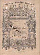 Zur Erinnerung an den Tag der Confirmation 1888 Lachen Pfalz Stich Pfarrer