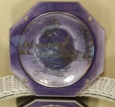 CHRISTMAS 1972 NORWAY STERLING SILVER ON GLASS PLATE WITH PURPLE VELVETEEN BACK