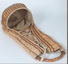 ca1900 NATIVE AMERICAN APACHE INDIAN BENT WOOD & TRADE CLOTH CRADLEBOARD
