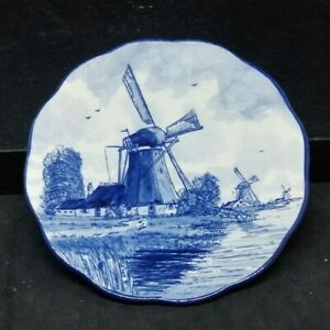 Delft Blue Plate Decorative Dutch Faience Hand Painted Vintage Signed  4.75 in
