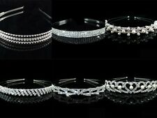 Crystal diamante rhinestone alice head hair band tiara bridal bridesmaid prom uk