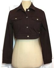Midriff Denim Jacket Medium Junior's Brown Boho Trucker Heat Wave Vintage