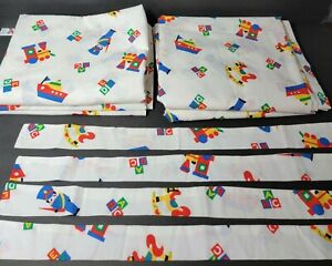 Vintage Spring Industries 4 Window Panels Curtains +Tie Backs Trains Boats ABC's