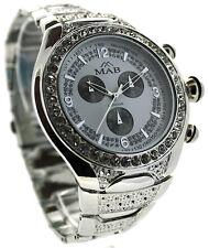 Plata, Esfera Negra, Diamonte De Lujo Para Hombre Reloj De Moda Celebrity estilo MAB Londres