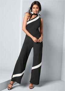 Venus Women's Black and White Jumpsuit One Shoulder One Piece Asymmetrical Size