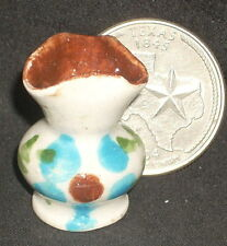 Vase, Folk Art Flower Painted Mexican Ceramic 1:12 TC405-2E Garden Patio Mantle