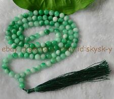 8mm Natural Green Jade Tibet Buddhist 108 Prayer Beads Mala Necklace