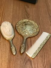 Vintage Mirror Brush & Comb Vanity Set Gold Tone Victorian Style
