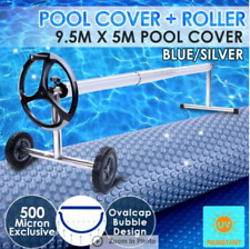 500 Micron Solar Swimming Pool Cover Blue/Silver 9.5x5M+Roller Wheel Blue/Silver