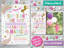 10 PERSONALISED BIRTHDAY PARTY INVITATIONS INVITES GIRLS UNICORN MERMAID GLITTER