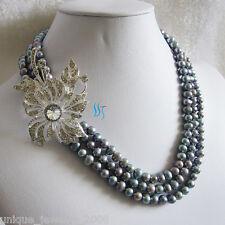 """18-20"""" 5-7mm 3row Dark Gray Freshwater Pearl Necklace XX2844 Jewelry"""