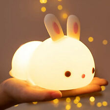 Portable Night Light Led Nursery Kids Children Soft Silicone Bunny Home Lamps