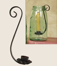 Classic Scroll QT Mason Fruit Jar Candle Holder Crackle Black/Red