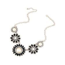 Retro Silver Art Deco Leaf Floral Flower Crystal Black Jewellery Necklace